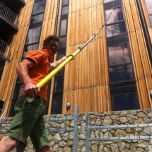 Window Cleaning using a 65 foot carbon fiber pole.